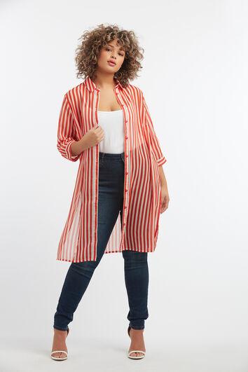 Blusa de rayas transparente
