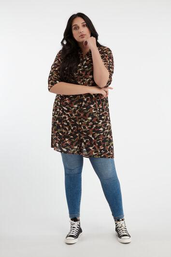 Blusa transparente con estampado