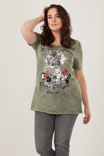 Camiseta con estampado de gato