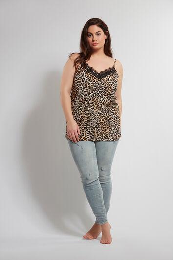Blusa sin mangas con estampado de leopardo y encaje