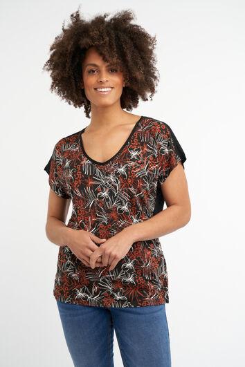 Camiseta con estampado botánico metálico