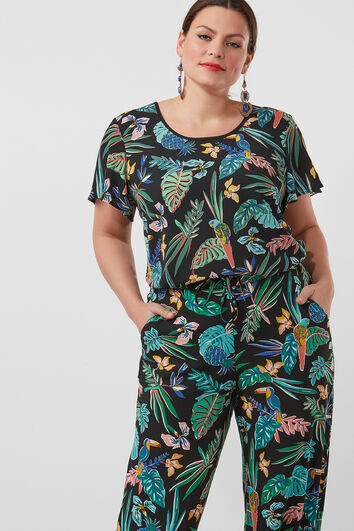 Blusa con estampado integral y mangas de mariposa