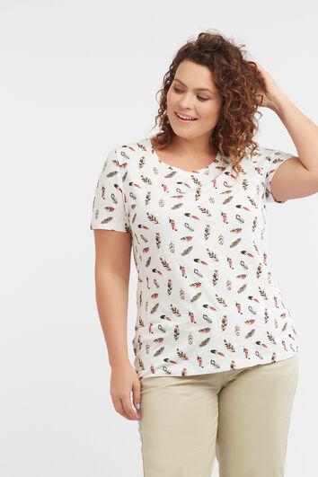 Camiseta con estampado integral de plumas