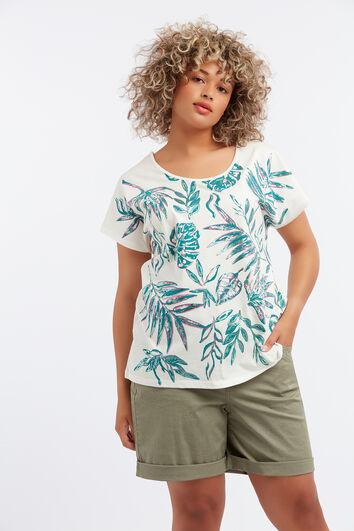 Camiseta con estampado metalizado