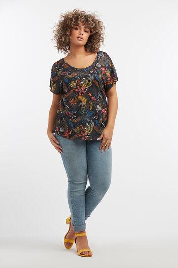 Camisa con estampado tropical y detalle en la espalda