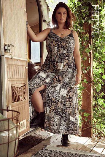Vestido largo con patchwork