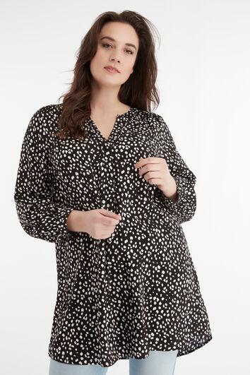 Blusa túnica con estampado de puntos