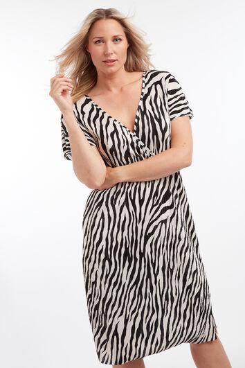 Vestido plisado con estampado de cebra