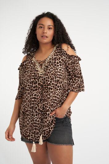 Blusa con hombros al descubierto y estampado de leopardo