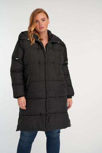 Abrigo largo acolchado con capucha