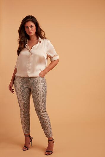 Pantalones de pernera estrecha con estampado de serpiente
