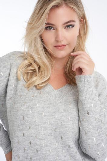 Suéter con estampado plateado