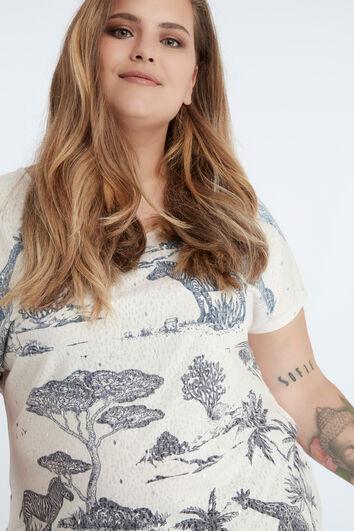 Camiseta de safari en azul y blanco