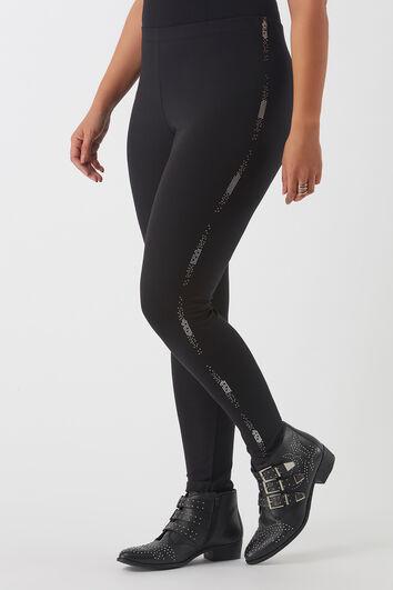 Leggings con estampado metálico y tachuelas