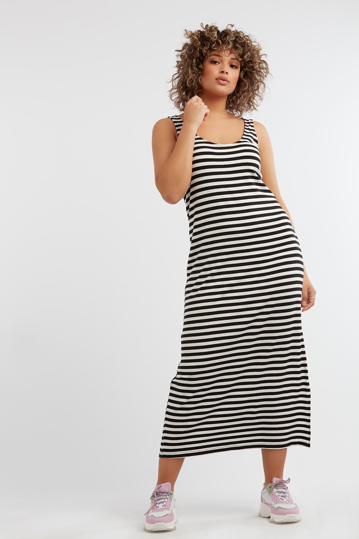 814d435e31f Damas Vestido de rayas sin mangas Multi Gris-Negro